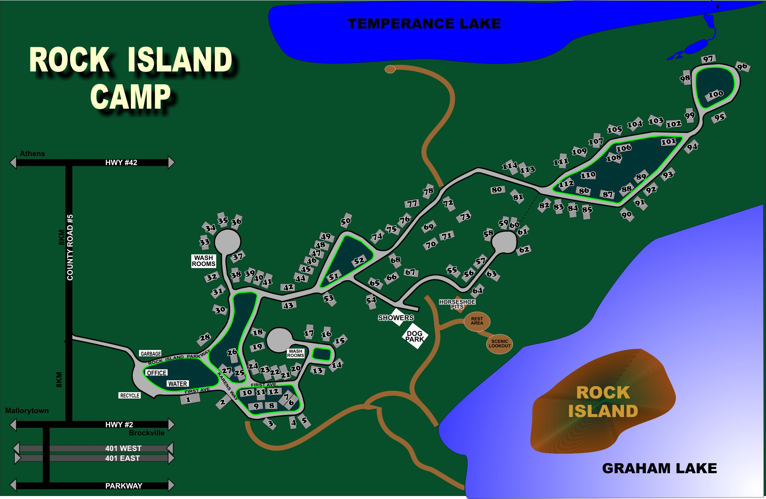 Rock Island Campground Map